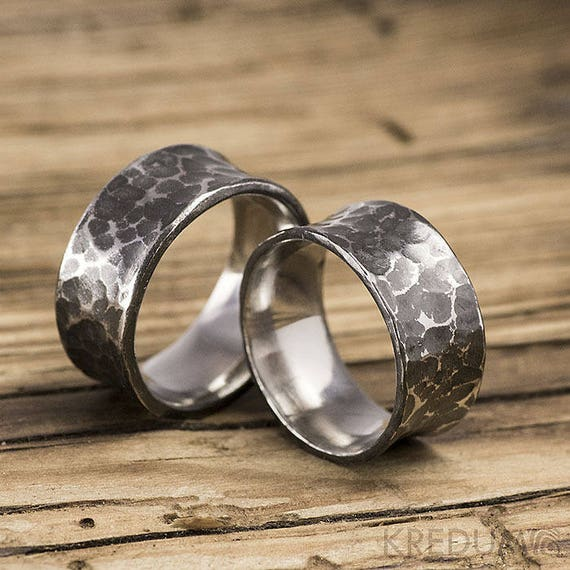 concave hammered wedding band mens engagement band womens