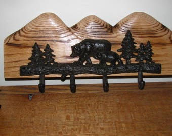 4 Hooks with Bear Sceene on Carved Wood Rustic Cabin