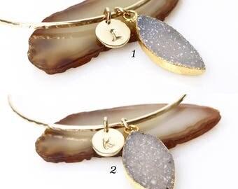 Personalized Druzy Charm Bracelet / Gold Druzy Flower Petal Bangle / Grey Druzy Bracelet Gift for Wife, Girlfriend, Mom, Sister