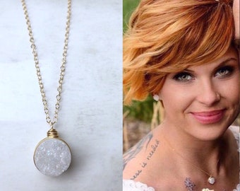 BRIDESMAID White Druzy Necklaces / Maid of Honor Gift / Winter Wedding Jewelry / Bridesmaid Necklaces / Winter Bridal Jewelry / Matron