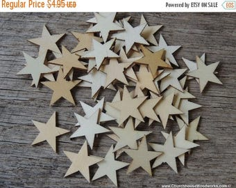 Summer SALE 50 Small 1 inch Mini Wood Stars, Wood Confetti Hearts- Rustic Wedding Decor- Table Decorations- Wooden Stars-  DIY Craft Supplie