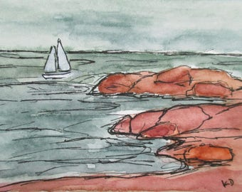 Miniature Seascape Watercolor Painting ACEO Pen and Ink Falmouth Town Landing Artist Trading Card Kathleen Daughan Western Avenue Lowell