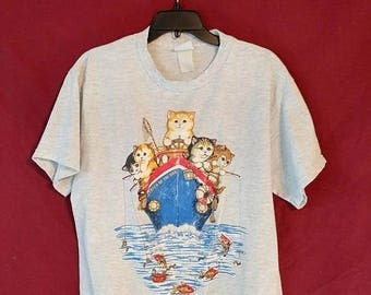 ON SALE Vintage 1980s Cat boat Ship SS Catch of the Day kitty shirt top tee size Large