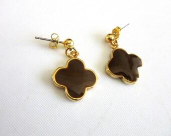Black Enamel Flower Post Earrings Drop