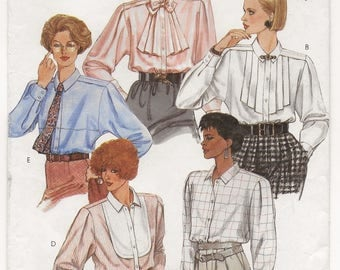 "A Long Sleeve, Collar, Buttoned Front Blouse w/Front Style Variations Sewing Pattern for Women: Uncut - Size 12, Bust 34"" • McCall's 2070"