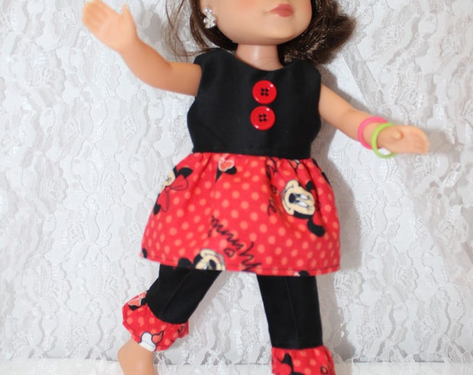 Red and Black Minnie Mouse Print Crop Top,Pants with Ruffle. Handmade to fit the wellie wisher and Heart to Heart doll Free Shipping