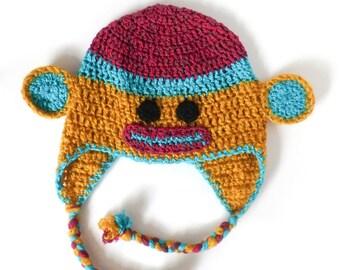 Custom Monkey Earflap Hat - Made to Order!