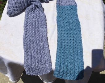 Scarf, lace pattern, two color stripes, blue and gray