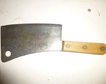 "Cleaver  Vintage Wood and Steel Butchers Cleaver - Large 12"" long form - Wood on full tang steel handle"