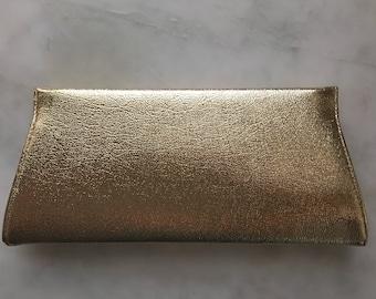 Vintage Gold Clutch Purse - 1960's Retro