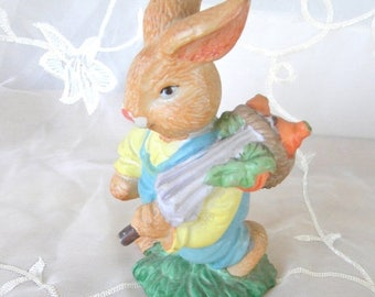 Summer Sale Bunny Rabbit Carrying Basket of Carrots Porcelain Figurine, Easter, Spring Decor, Vintage Item