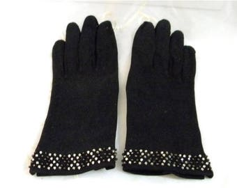 Summer Sale Vintage Gorgeous Black Gloves with Rhinestone and Beaded Edging on Cuffs, Soft Cotton