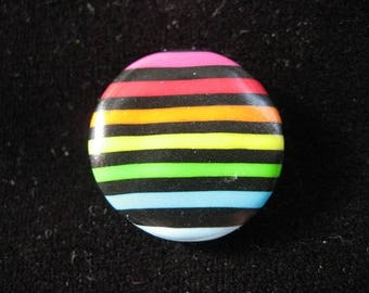 Ring pop striped black/multicolor polymer clay