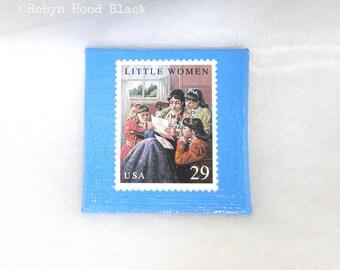 Vintage Postage Stamp Magnet 2 X 2 LITTLE WOMEN