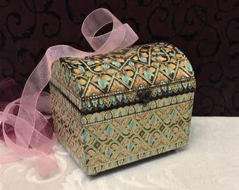 Beautiful Vintage Tin Box, English Treasure Chest, Embossed, Mid Century, Baret Ware, Blue Green Pink, Ornate Keepsake Trinket Box
