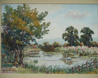 Original Vintage Watercolors painting English Pastoral by Ernest W Watson 1884 - 1969