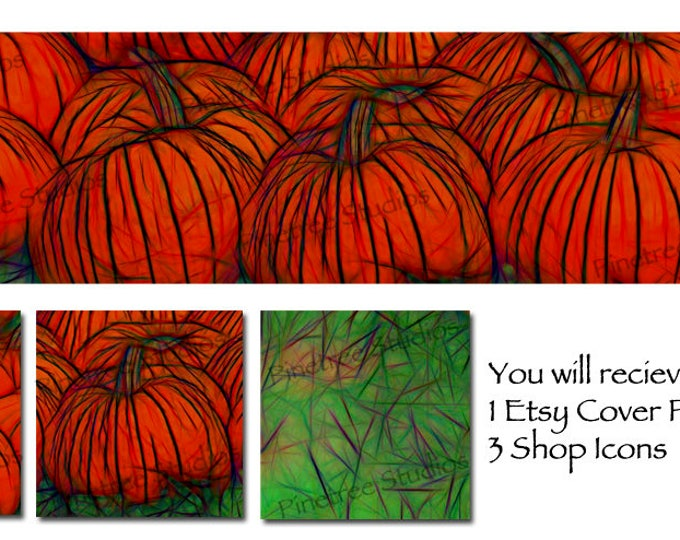 Etsy Cover Photo Banner (for Pattern Website too) and 3 Shop Icons ~ Pumpkin Patch Glow