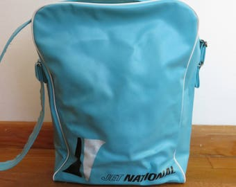 Cool Vintage Jet National Airlines Bag- Great Teal Color with Great Graphics- Working Zipper, Long Strap