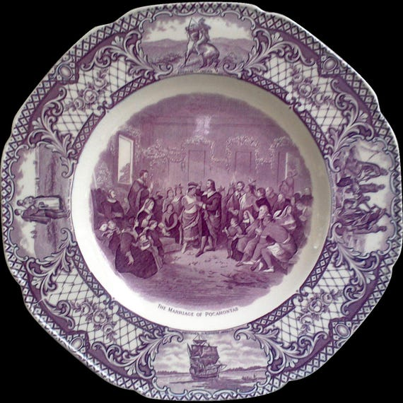 """PURPLE TRANSFERWARE PLATE, Crown Ducal,  """"Colonial Times"""", 10 1/2"""" Plate, """"Marriage of Pocahontas"""", Serving, Plum, Mulberry"""