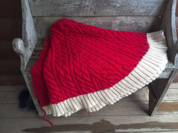 """Cable Knit Christmas Tree Skirt, 60"""", Christmas Decor, Red and Cream, LARGE, Holiday Decor, Made in India"""