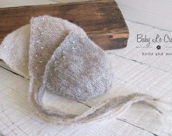 Newborn Bonnet, Hand Knit | Beaded | Brushed Alpaca, Photo Prop