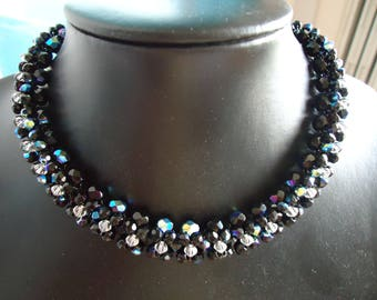Black Choker necklace made with swarovski pearls