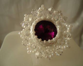 White flower with purple rivoli rhinestone ring