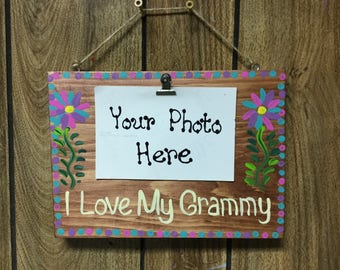 Grandmother photo clip board display
