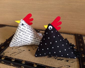Chicken pincushions, modern pincushion, sewing pin cushion, country chickens, pair of self sharpening pincushion, quilted hen pincushion