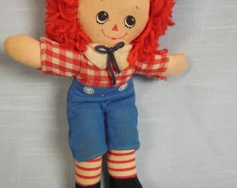 """Vintage--Raggedy Andy-6"""" Tall-Red Hair-Knickerbocker"""