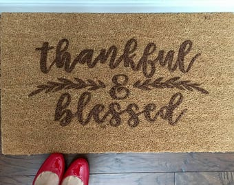 Fall Thankful & Blessed Coir Doormat, Customized Doormat,  Handpainted Doormat, Doormat, Custom Doormat, custom Mat, Fall Mat, Fall Rug