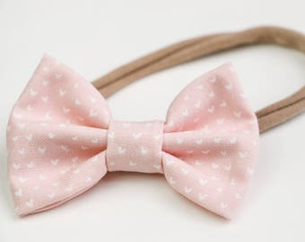 Mini Bows, Fabric Bows, Hair Accessories, Bow Clip, Soft Headbands, Light Pink Bows, Mini Heart Bows