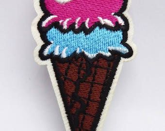 Ice-cream cone patch embroidered patch sew x 1