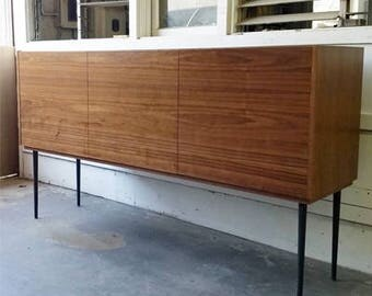 BUILT2ORDER // Walnut Credenza with Slate Grey Metal Legs