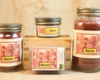 Bacon Scented Candle, Bacon Scented Wax Tarts, 26 oz, 12 oz, 4 oz Jar Candles or 3.5 Clam Shell Wax Melts