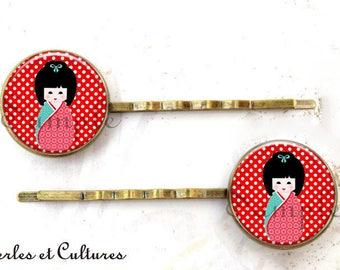 Hair clips x 2 ღKokeshi ღ cabochonღ verreღ red black poisღ doll ღfille ღrobe ღ ღ ღ trendy vintage beads