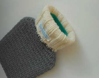 TheCraftyElks: Hand Knitted Hot Water Bottle Cover (Cosy) in Grey - Merino Wool Blend