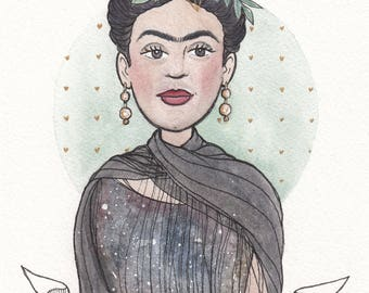 Frida Kahlo Original watercolor painting original art