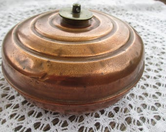 Antique Edwardian Solid Copper Bed Warmer