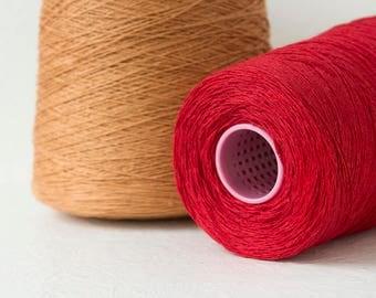 Linen yarn on cone, Yarn for knitting, crochet weaving - Pure linen yarn - Set of 2 cones, Total 1.5kg / 52.5oz - Free shipping