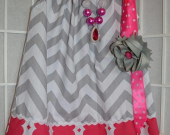 Pillowcase Dress with Matching Necklace and Bow