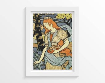 Woman Cross Stitch Kit, Woman Gathering Flowers Cross Stitch, Embroidery Kit, Art Cross Stitch, Eugene Grasset (GRASS01)