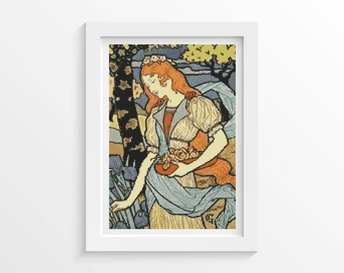 Cross Stitch Kit, Embroidery Kit, Art Cross Stitch, Woman Cross Stitch, Woman Gathering Flowers by Eugene Grasset (GRASS01)