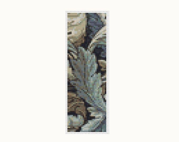 Bookmark Cross Stitch Pattern PDF, Embroidery Chart, Art Cross Stitch, Leaves by William Morris, Floral Cross Stitch (BK32)