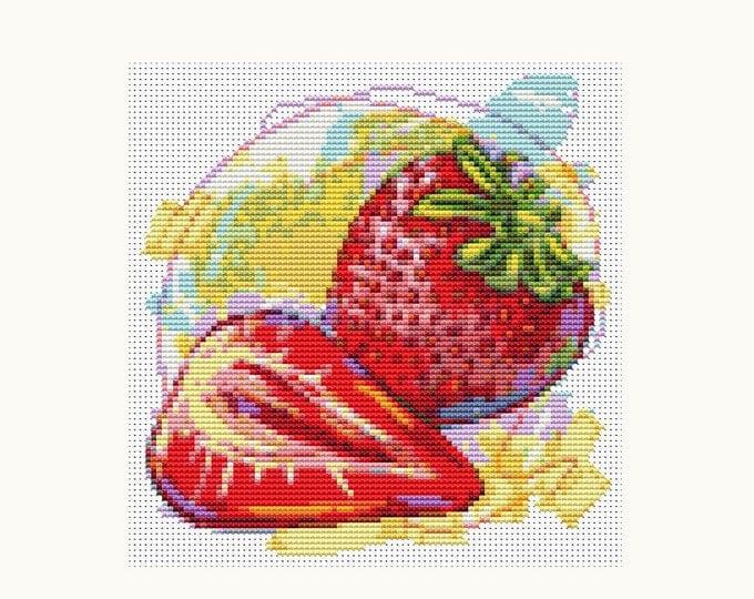 Mini Cross Stitch Pattern PDF, Embroidery Chart, Art Cross Stitch, Kitchen Series: Fresh Strawberries (TAS065)