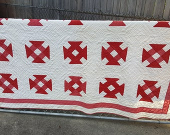 Vintage Quilt CUTTER Quilt Hand Stitched Red and White