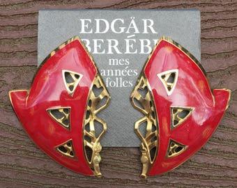Stunning Vintage Edgar Berebi Runway Earrings New on Card Red and Gold