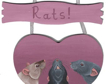 Rats!  Hanging Heart Room Sign for any Rat Lovers Home!