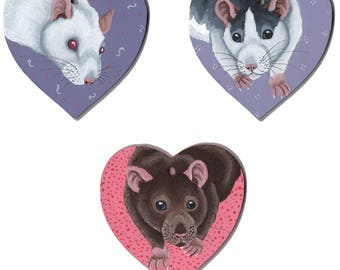 Rat Wooden Hearts, Hung by Ribbon, Featuring Albino (White with Red Eyes), Roan or Husky and Agouti Rats