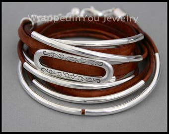 LEATHER Wrap Bracelet - Genuine Real Leather Cord Silver Curved TUBES - Adjustable Cascading Triple Wrap Boho Leather Bangle Bracelet